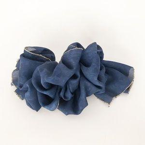 Vintage Blue Scarf Ruffle Hair Clip Barrette 80s